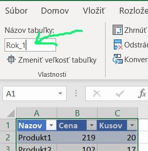 Premenovanie tabulky